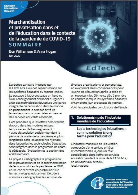 Marchandisation et Privatisation dans et de l'éducation dans le contexte de la pandémie de COVID-19